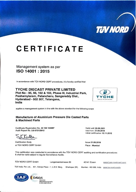 Tyche Diecast - ISO 14001:2015